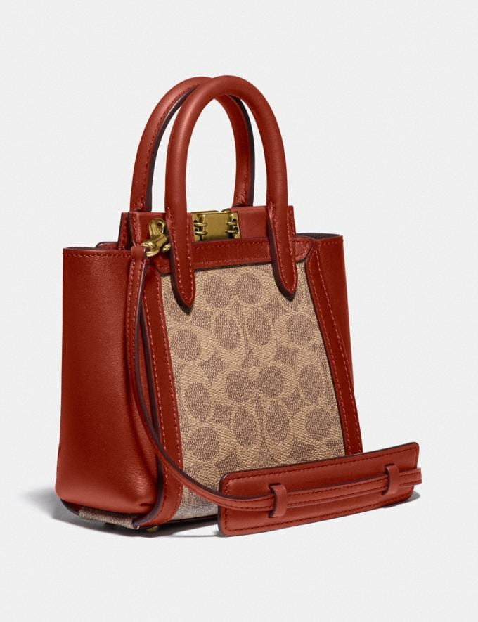Coach Troupe Tote 16 in Signature Canvas Brass/Tan Red Apple Women Bags Satchels Alternate View 1