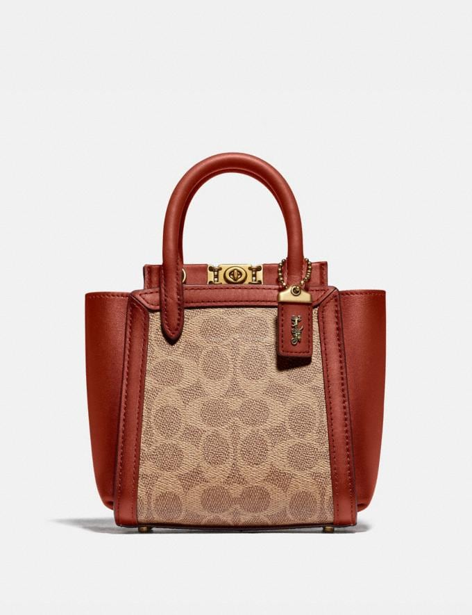 Coach Troupe Tote 16 in Signature Canvas Brass/Tan Red Apple Women Bags Satchels