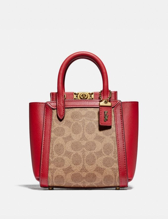 Coach Troupe Tote 16 in Signature Canvas Brass/Tan Red Apple Gifts For Her Under £500