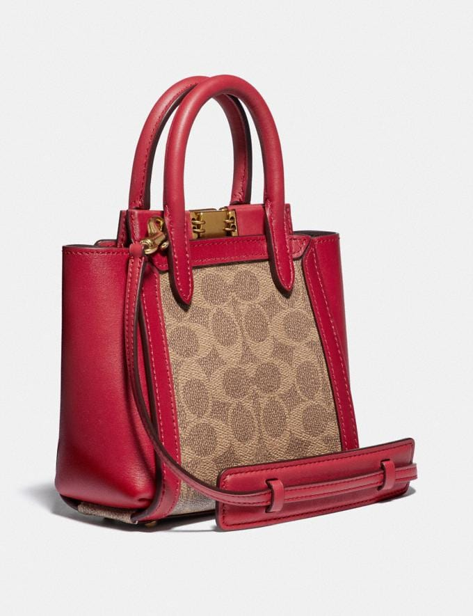 Coach Troupe Tote 16 in Signature Canvas Brass/Tan Red Apple Gifts For Her Under £500 Alternate View 1