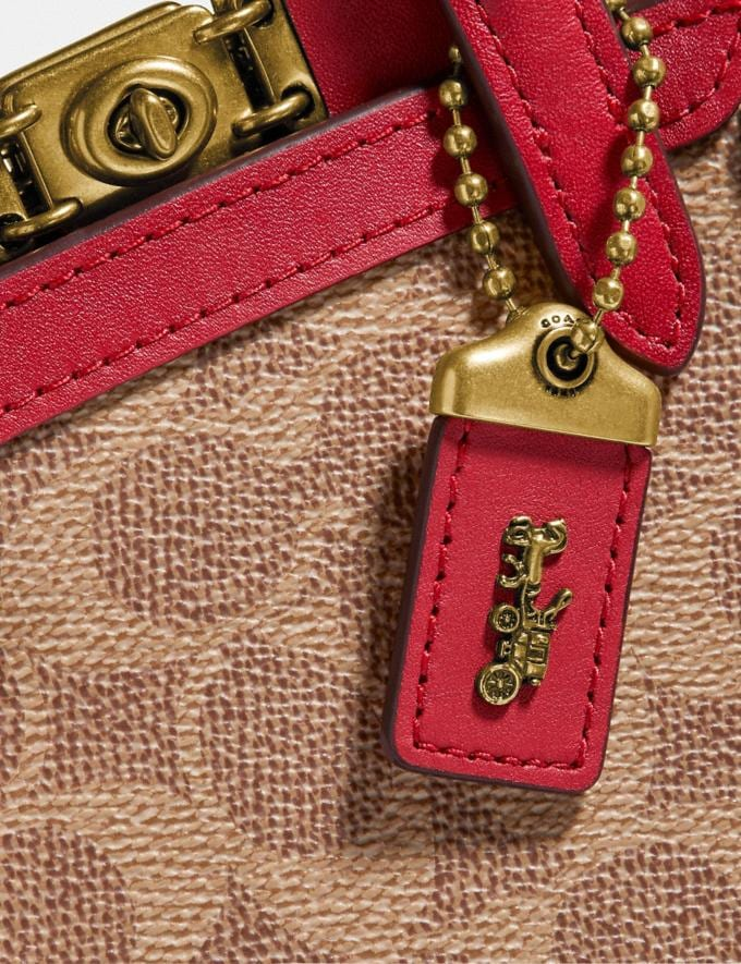 Coach Troupe Tote 16 in Signature Canvas Brass/Tan Red Apple Gifts For Her Under £500 Alternate View 4