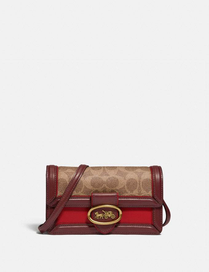 Coach Riley Convertible Belt Bag in Signature Canvas Brass/Tan Red Apple Damen Taschen Gürteltaschen