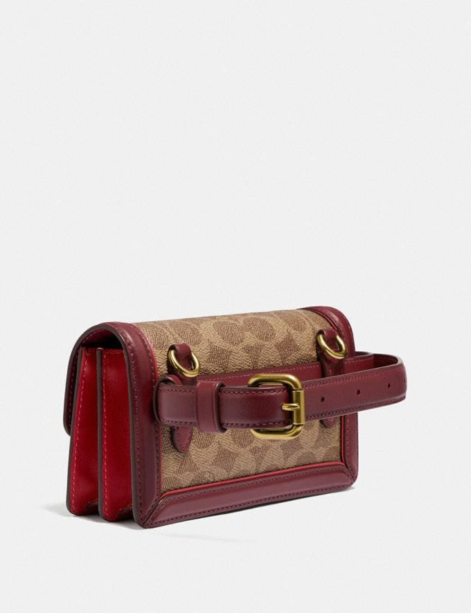 Coach Riley Convertible Belt Bag in Signature Canvas Brass/Tan Red Apple New Featured Lunar New Year Alternate View 1