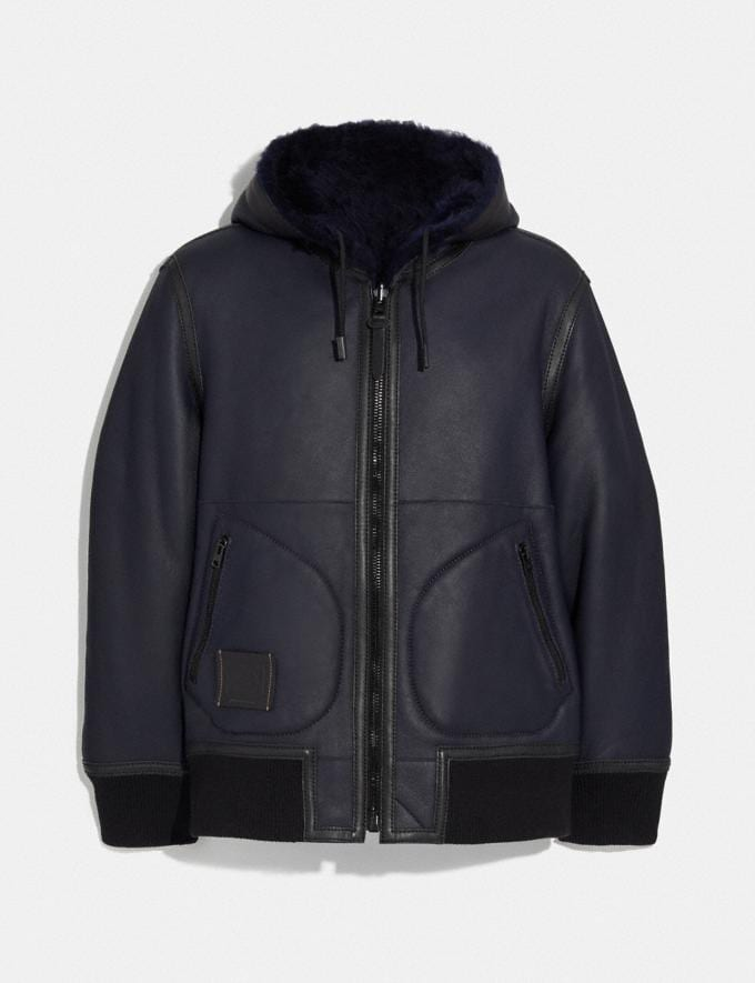Coach Reversible Shearling Hoodie Navy New Men's New Arrivals Ready-to-Wear