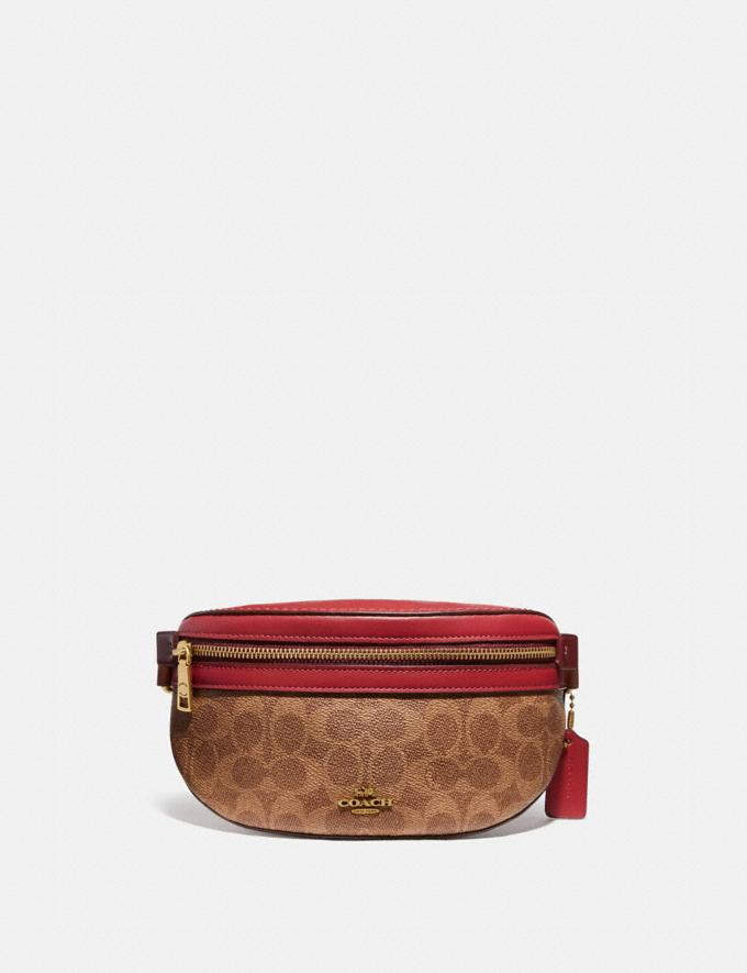 Coach Bethany Belt Bag in Colorblock Signature Canvas Brass/Tan Red Apple Multi Donna Borse Borse a cintura