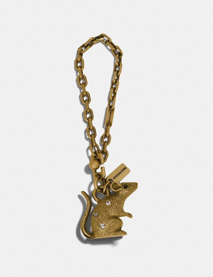 Coach Lunar New Year Jeweled Metal Rat Bag Charm Gold Women Accessories Bag Accessories & Keyholders