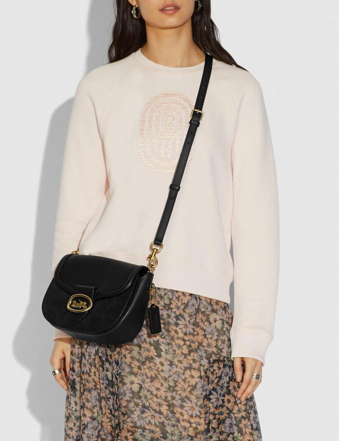 Coach Kat Saddle Bag Black/Brass Women Bags Crossbody Bags Alternate View 3