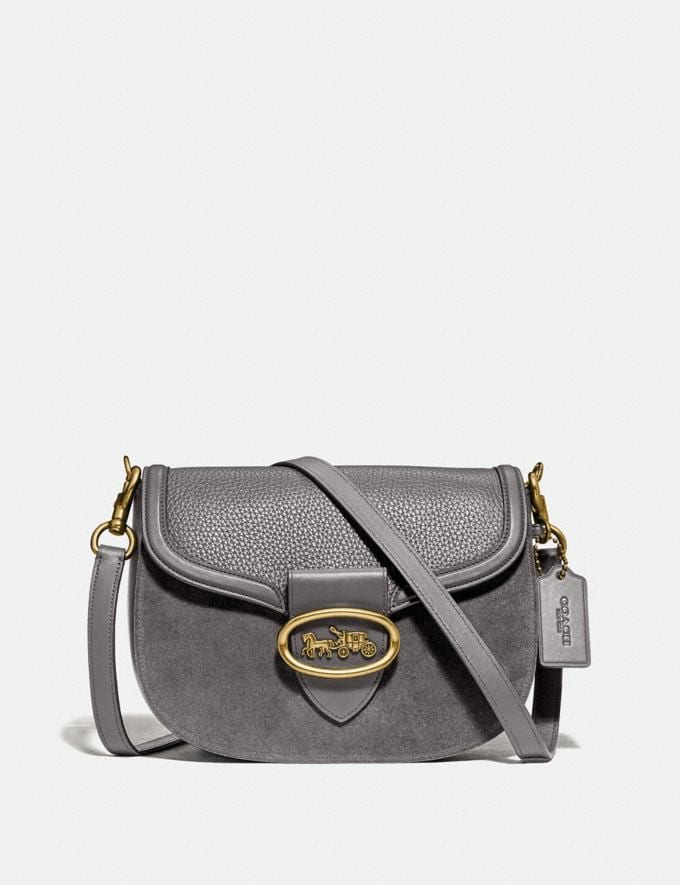 Coach Kat Saddle Bag Heather Grey/Brass Women Bags Crossbody Bags