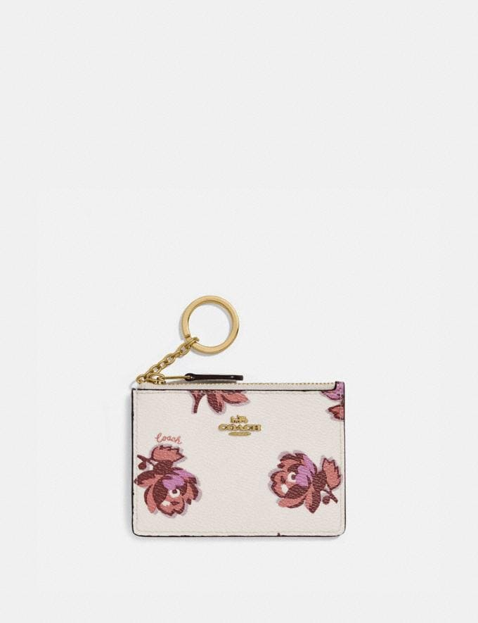 Coach Mini Skinny Id Case With Floral Print Gold/Chalk Floral Print Women Wallets & Wristlets Card Cases