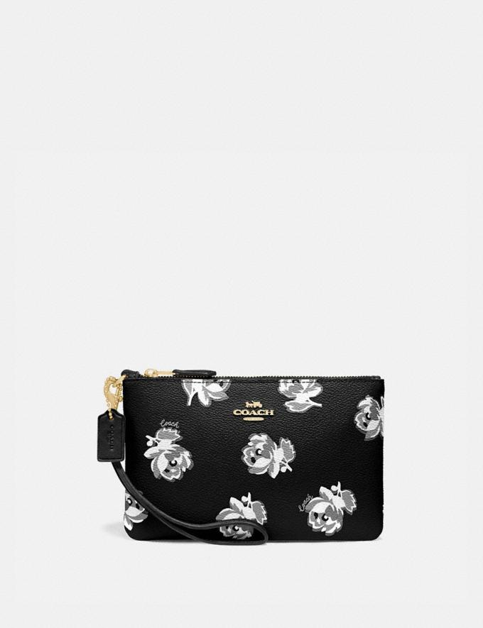 Coach Small Wristlet With Floral Print Gold/Black Floral Print Women Accessories