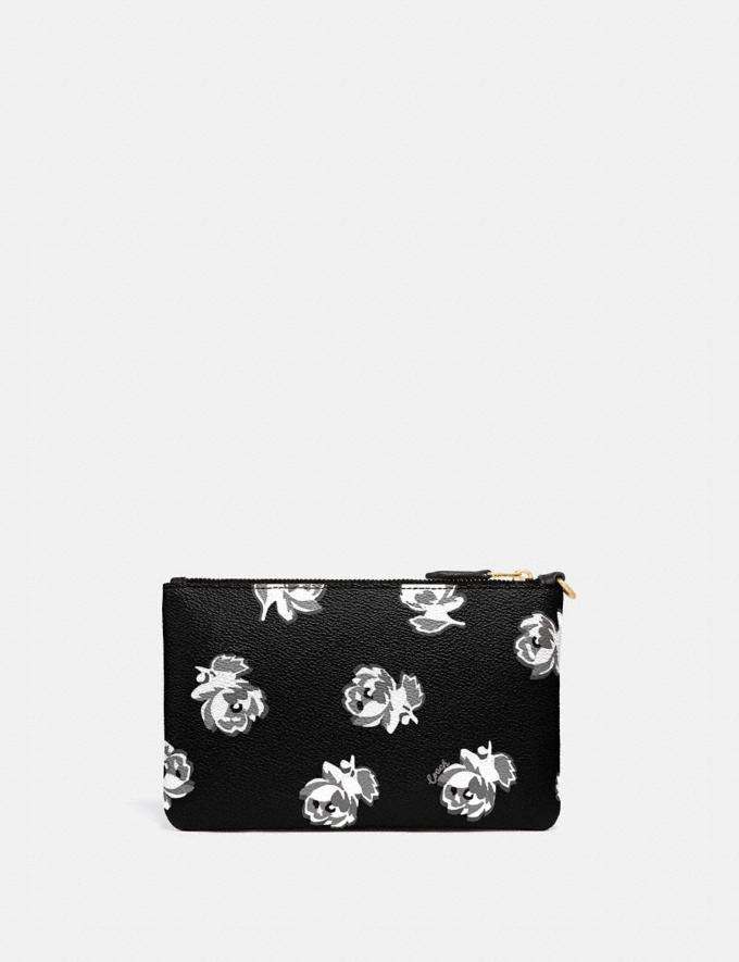 Coach Small Wristlet With Floral Print Gold/Black Floral Print Women Accessories Alternate View 1