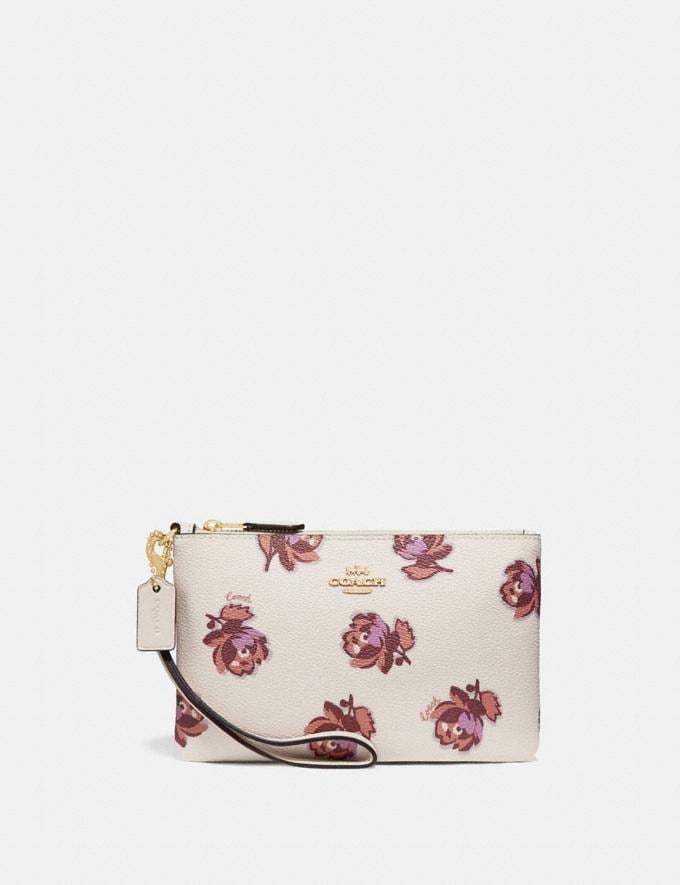 Coach Small Wristlet With Floral Print Gold/Chalk Floral Print New Women's New Arrivals Wallets & Wristlets
