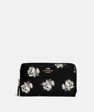 MEDIUM ZIP AROUND WALLET WITH FLORAL PRINT