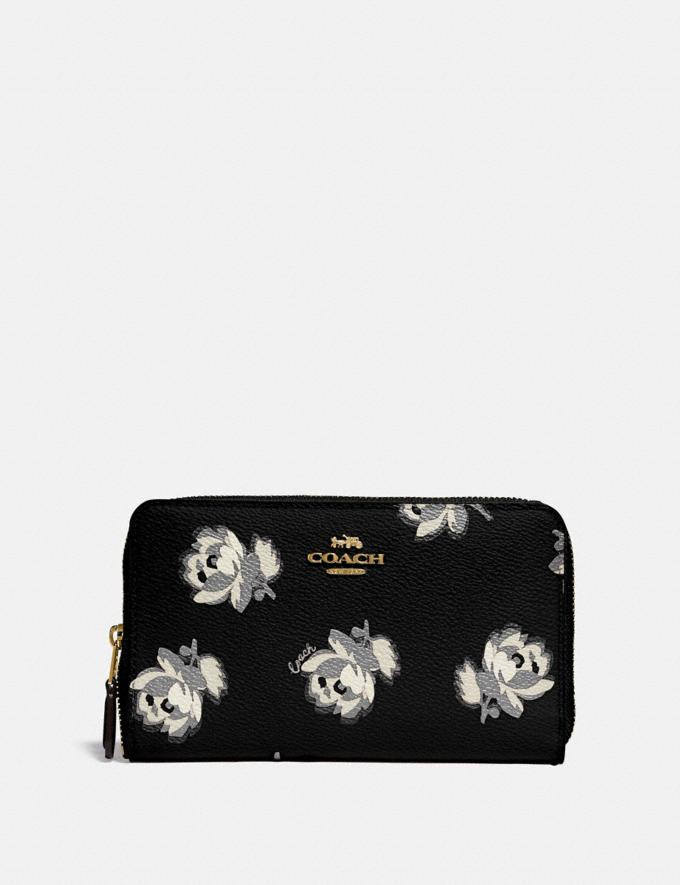Coach Medium Zip Around Wallet With Floral Print Gold/Black Floral Print New Women's New Arrivals Wallets & Wristlets