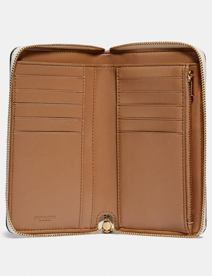Coach Medium Zip Around Wallet With Floral Print Gold/Chalk Floral Print Women Wallets & Wristlets Large Wallets Alternate View 1