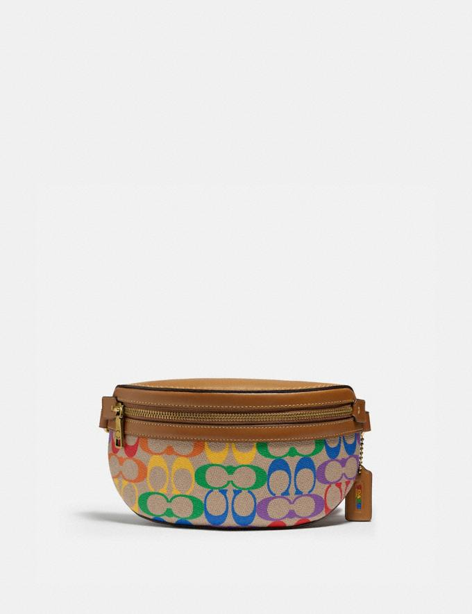 Coach Bethany Belt Bag in Rainbow Signature Canvas B4/Tan Penny Multi New Featured Coach Pride Collection