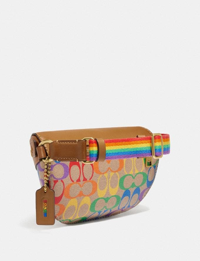 Coach Bethany Belt Bag in Rainbow Signature Canvas B4/Tan Penny Multi New Featured Coach Pride Collection Alternate View 1