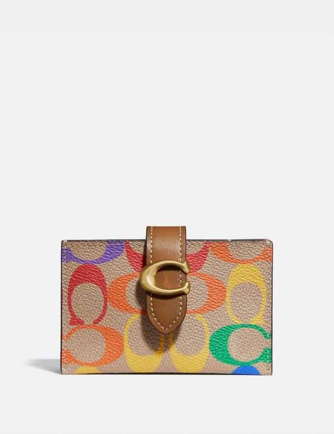 Coach Accordion Card Case in Rainbow Signature Canvas B4/Tan Penny Multi Women Small Leather Goods Card Cases