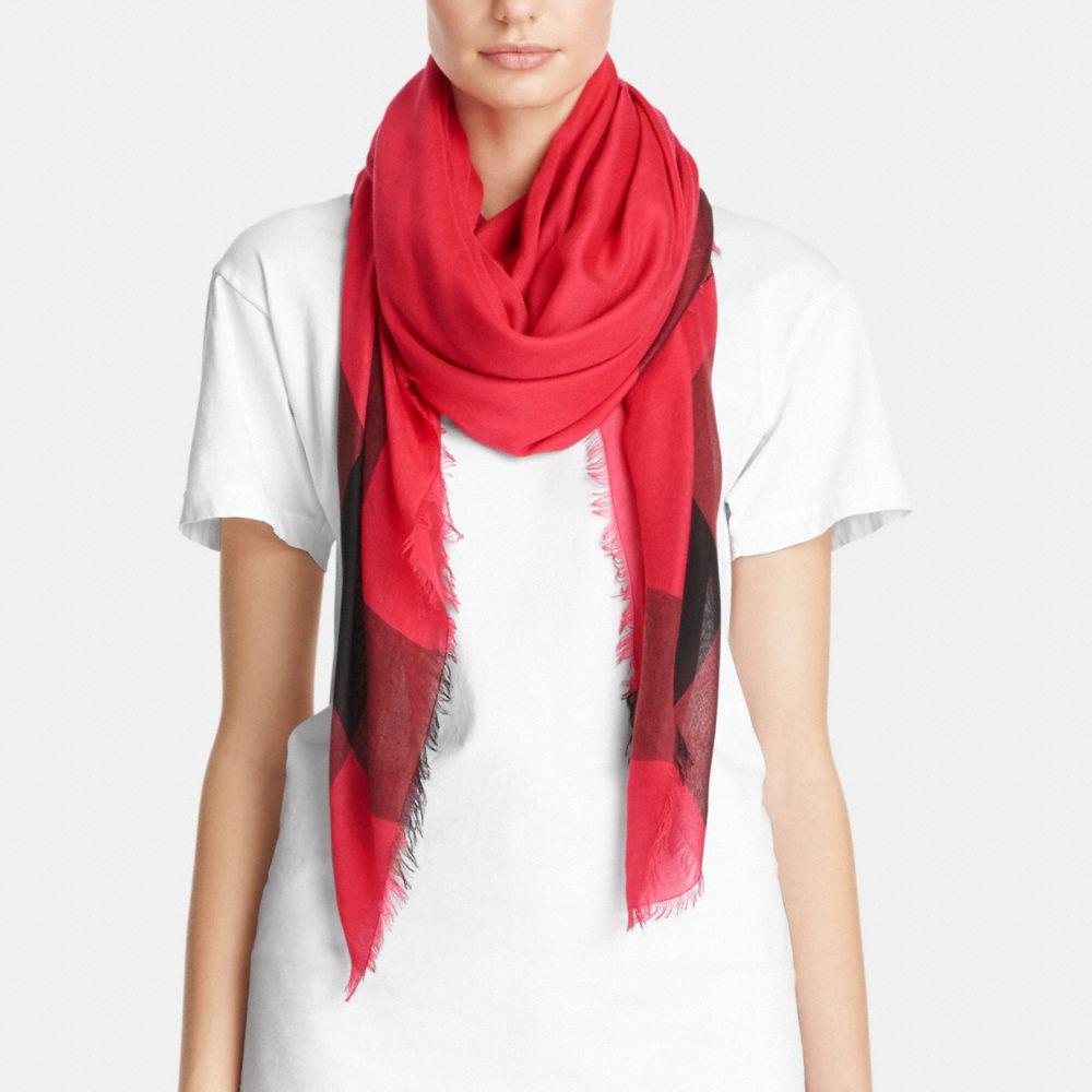 coach designer scarves lightweight windowpane challis scarf