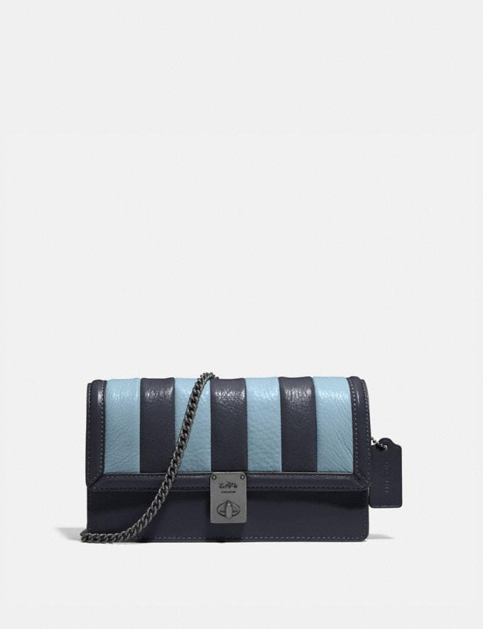 Coach Hutton Clutch With Colorblock Quilting Pewter/Midnight Navy Multi Women Handbags Crossbody Bags
