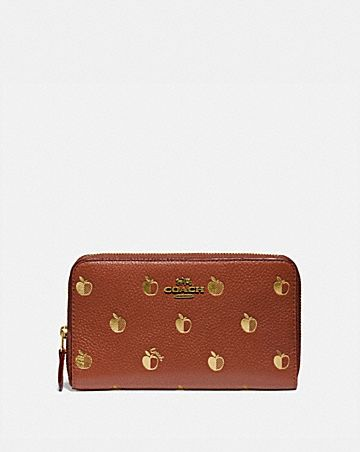 medium zip around wallet with apple print