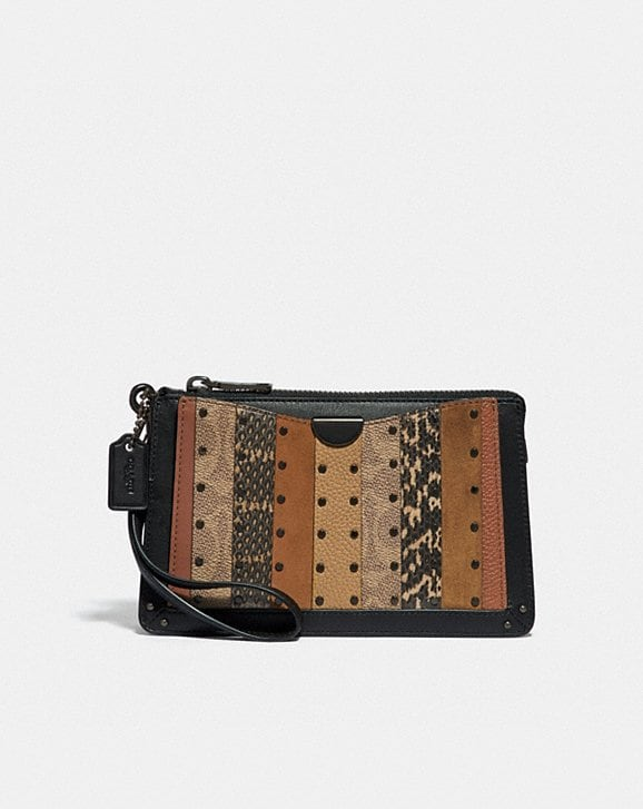 Coach DREAMER WRISTLET WITH SIGNATURE CANVAS PATCHWORK STRIPES AND SNAKESKIN DETAIL