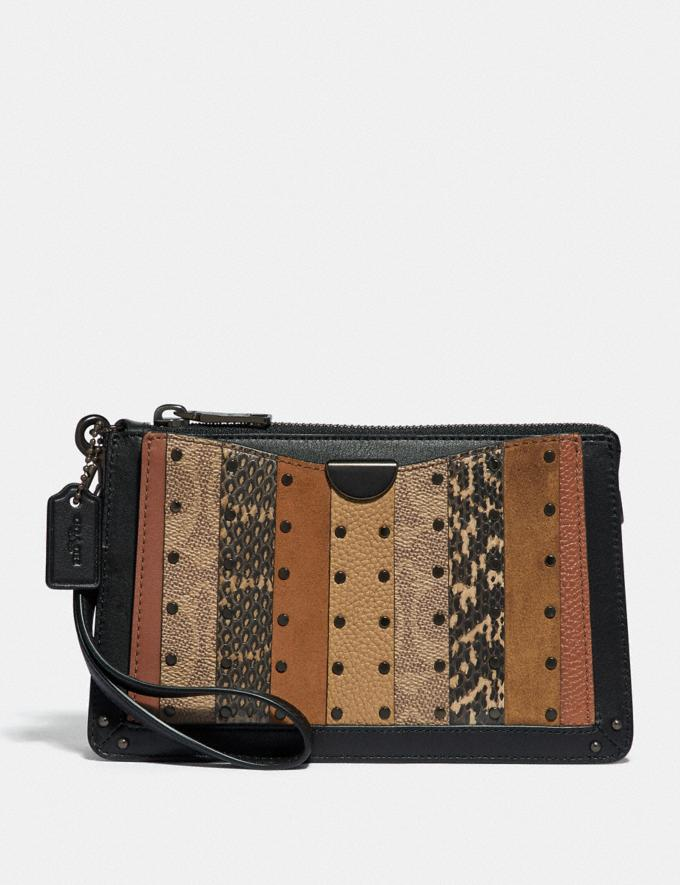 Coach Dreamer Wristlet With Signature Canvas Patchwork Stripes and Snakeskin Detail Pewter/Tan Black Multi Women Wallets & Wristlets Large Wallets