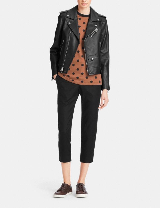 Coach Icon Moto Jacket Black Women Ready-to-Wear Outerwear Alternate View 1