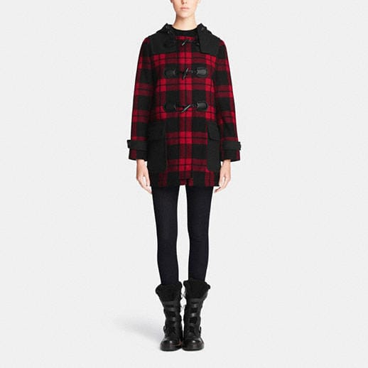 COACH Designer Jackets | Mount Plaid Duffle Coat