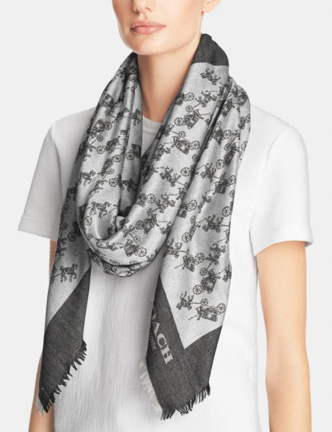 Coach Horse and Carriage Oversized Square Scarf Grey SALE Women's Sale Accessories Alternate View 1