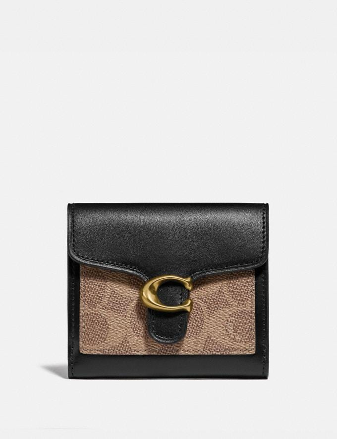 Coach Tabby Small Wallet in Colorblock Signature Canvas Brass/Tan Black Women Wallets & Wristlets Small Wallets