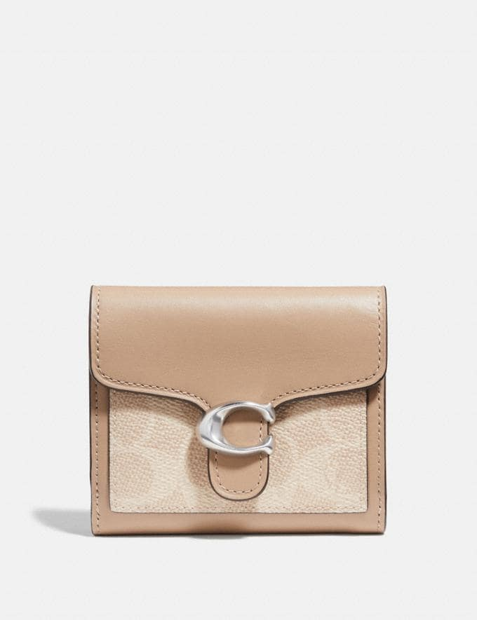 Coach Tabby Small Wallet in Colorblock Signature Canvas Lh/Sand Taupe Women Small Leather Goods Small Wallets