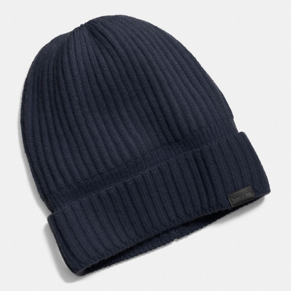 Cashmere Knit Ribbed Beanie