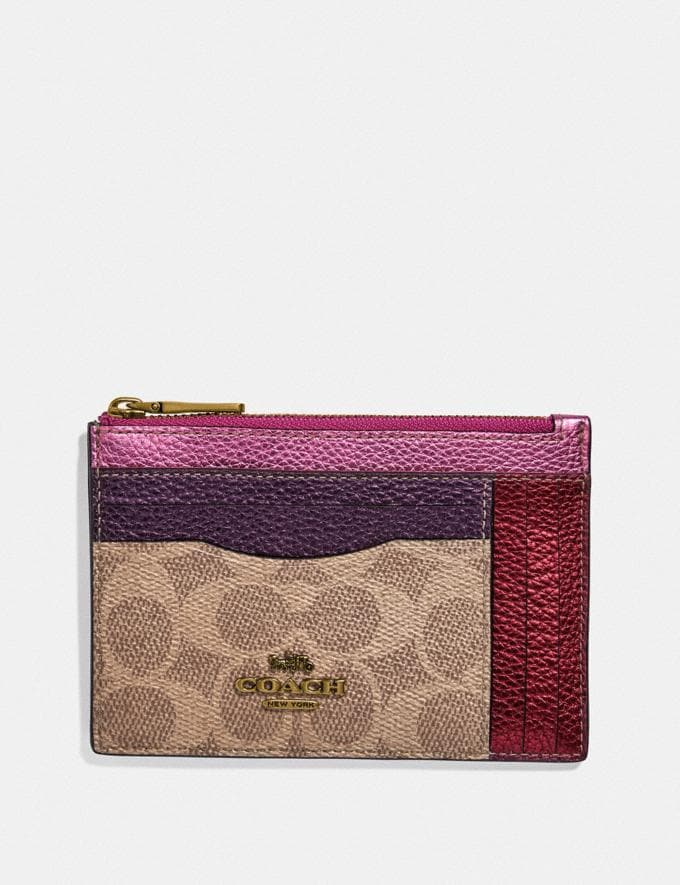 Coach Large Card Case in Colorblock Signature Canvas Brass/Multi SALE Women's Sale Wallets & Wristlets