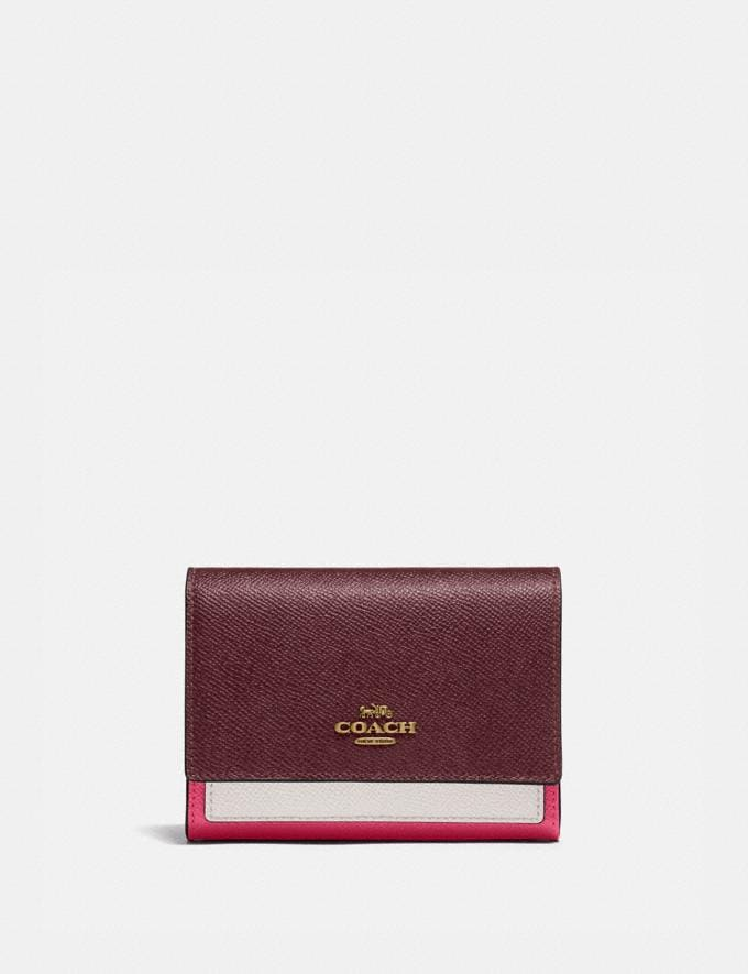 Coach Medium Flap Wallet in Colorblock B4/Confetti Pink Multi Women Small Leather Goods Large Wallets