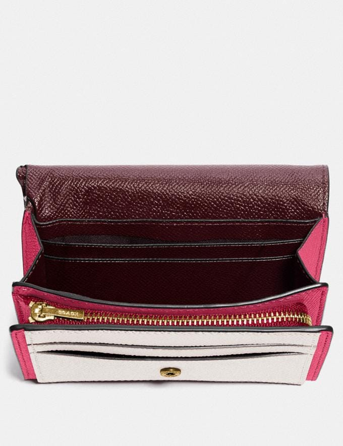 Coach Medium Flap Wallet in Colorblock B4/Confetti Pink Multi Women Small Leather Goods Large Wallets Alternate View 1