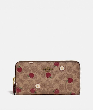 ACCORDION ZIP WALLET IN SIGNATURE CANVAS WITH SCATTERED APPLE PRINT