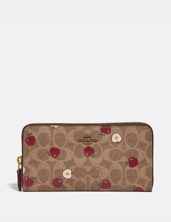 Coach Accordion Zip Wallet in Signature Canvas With Scattered Apple Print Brass/Tan Multi Gifts Holiday Shop Stocking Fillers For Her
