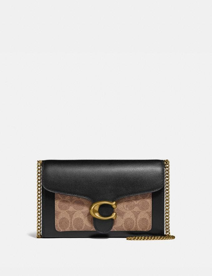 Coach Tabby Chain Clutch in Colorblock Signature Canvas Brass/Tan Black Women Wallets & Wristlets Crossbody Wallets
