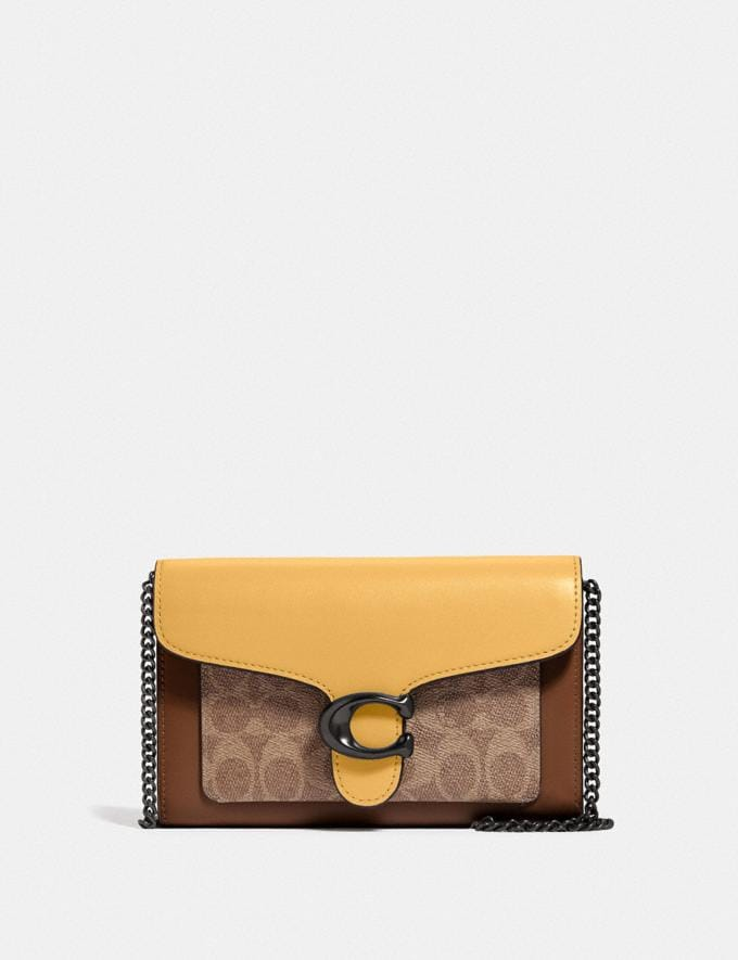 Coach Tabby Chain Clutch in Colorblock Signature Canvas V5/Tan Honeycomb Multi Women Bags Clutches