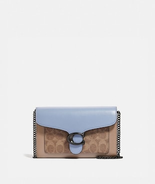TABBY CLUTCH MIT KETTENRIEMEN AUS CHARAKTERISTISCHEM CANVAS IN COLORBLOCK-OPTIK