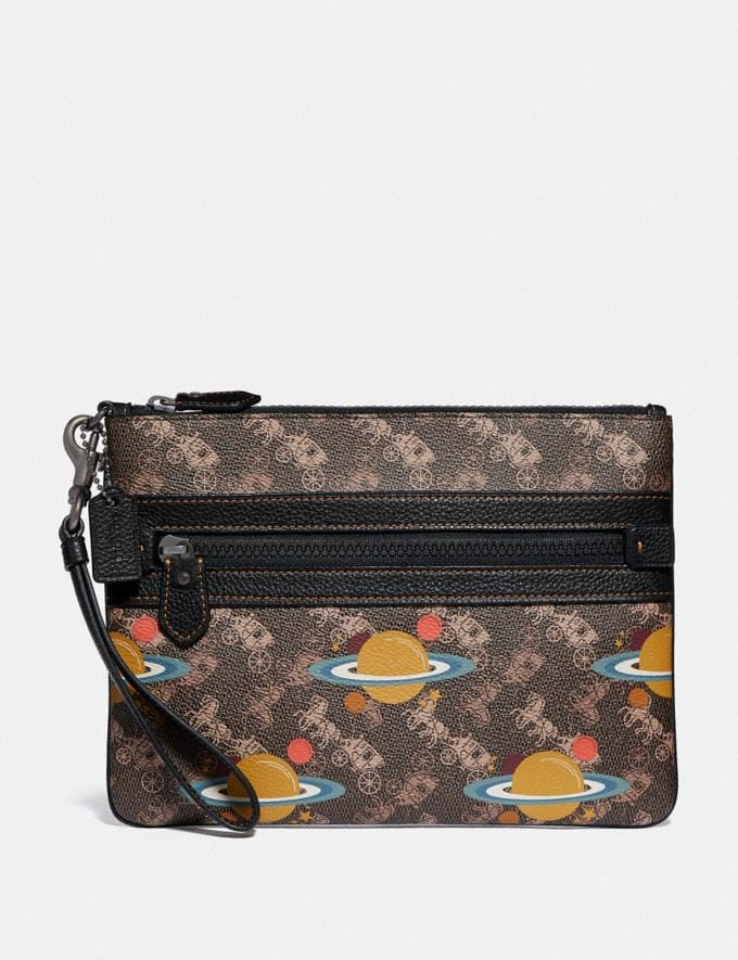 Coach Large Front Zip Wristlet With Horse and Carriage Print and Planet Pewter/Brown Black New Women's New Arrivals Wallets & Wristlets