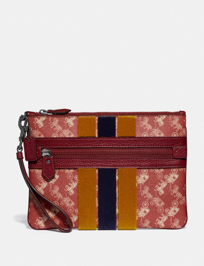 Coach Large Front Zip Wristlet With Horse and Carriage Print and Varsity Stripe Pewter/Red Deep Red SALE Women's Sale Wallets & Wristlets