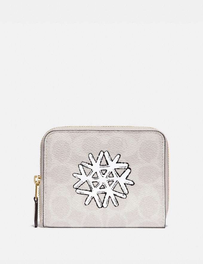 Coach Small Zip Around Wallet in Signature Canvas With Snowflake Brass/Ivory Multi Women Small Leather Goods Small Wallets
