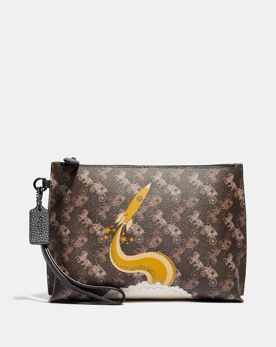 CHARLIE POUCH WITH HORSE AND CARRIAGE PRINT AND ROCKET