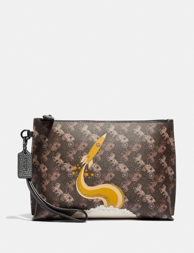 Coach Charlie Pouch With Horse and Carriage Print and Rocket Pewter/Brown Black Women Small Leather Goods Wristlets
