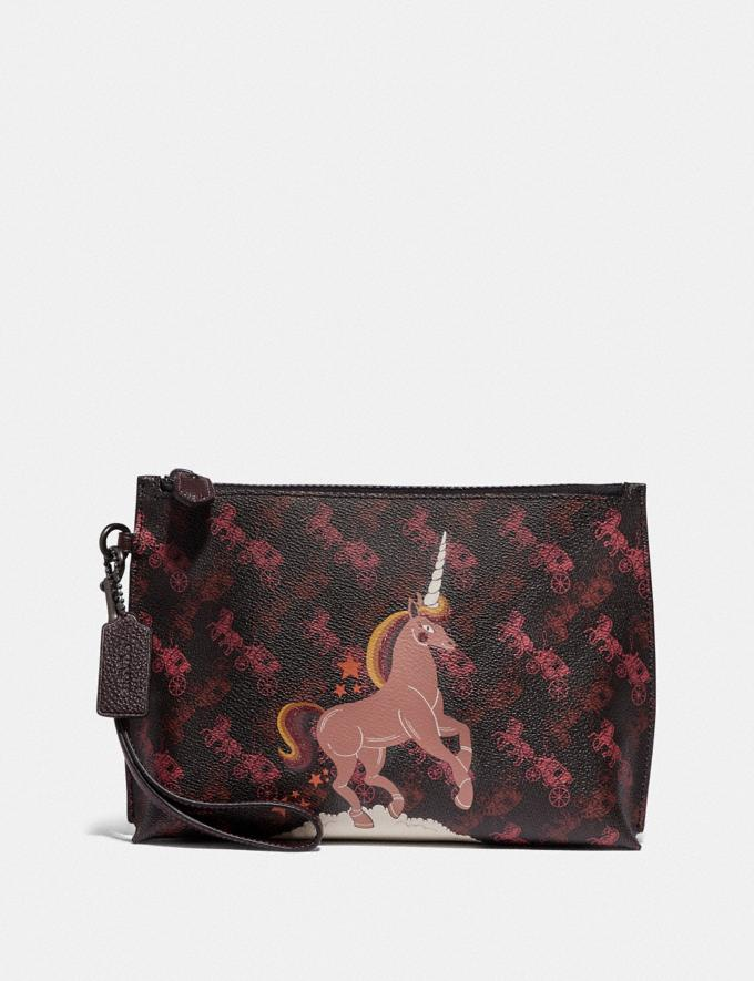 Coach Charlie Pouch With Horse and Carriage Print and Unicorn Pewter/Black Oxblood New Featured Online Exclusives