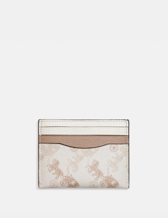 Coach Card Case With Horse and Carriage Print Brass/Chalk Taupe Gift For Her Under €100