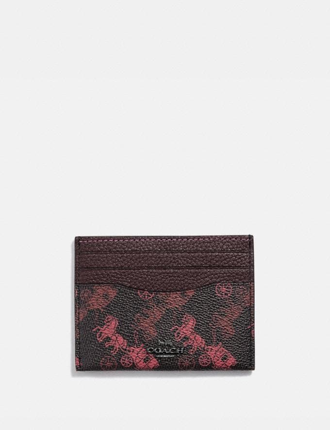 Coach Card Case With Horse and Carriage Print Pewter/Black Oxblood Women Small Leather Goods Card Cases