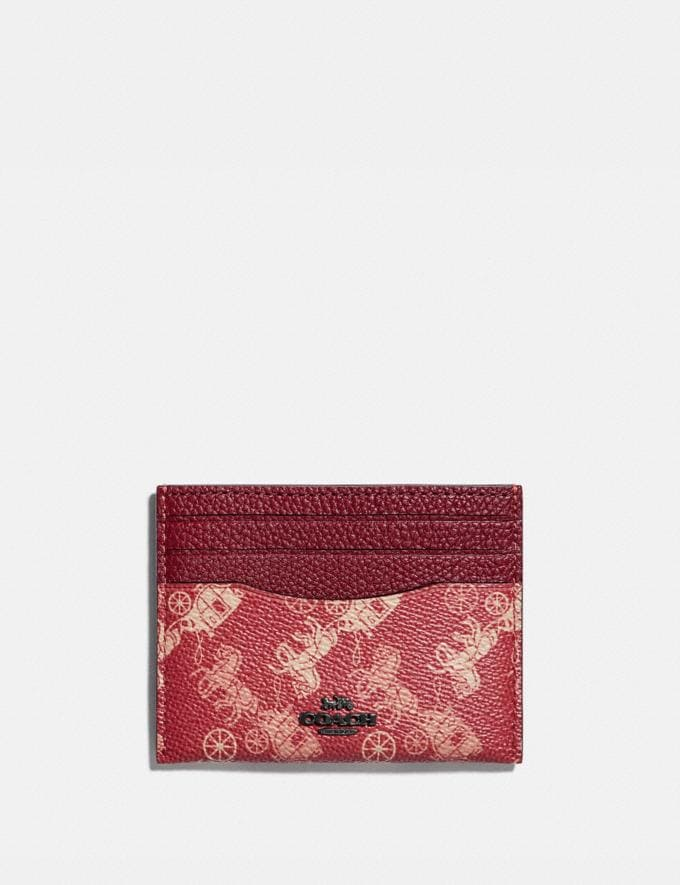 Coach Card Case With Horse and Carriage Print Pewter/Red Deep Red Women Small Leather Goods Card Cases